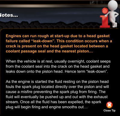 "Engines can run rough at start-up due to a head gasket  failure called ""leak-down"". This condition occurs when a crack is present on the head gasket located between a  coolant passage seal and the nearest piston…  When the vehicle is at rest, usually overnight, coolant seeps from the coolant seal into the crack on the head gasket and leaks down onto the piston head. Hence term ""leak-down"".  As the engine is started the fluid resting on the piston head fouls the spark plug located directly over the piston and will cause a misfire preventing the spark plug from firing. The  fluid will eventually be pushed up and out with the exhaust  stream. Once all the fluid has been expelled, the spark plug will begin firing and engine smooths out… Close Tip"